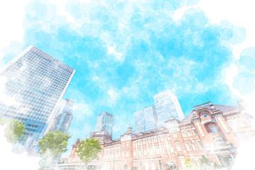 東京都心の高層ビル Tokyo station