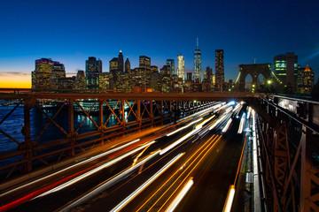 Busy traffic in New York City, Manhattan, Brooklyn Bridge