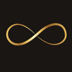 golden infinity sign, vector illustration