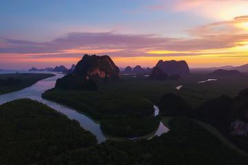 Aerial view, Beautiful sunset at Ao Phang Nga National Park, Thailand