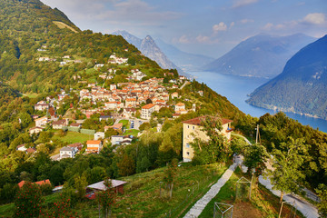 Scenic view to the lake Lugano from Monte Bre in Lugano, Switzerland
