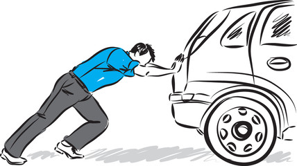 man pushing car vector illustration