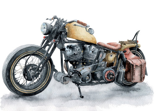 retro motorcycle painted with watercolor