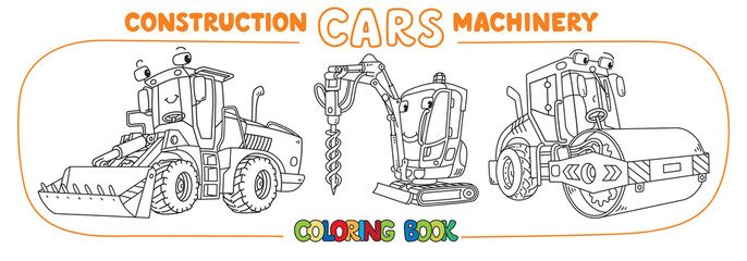Funny constuction cars with eyes Coloring book set