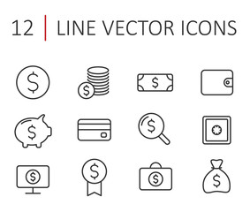 finance line icon set. finance line web icons for your project