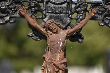 rusty cross ,Crucifix in the cemetery in Bistrita , ROMANIA,