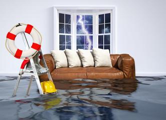 Obraz Hochwasser im Haus - Flood in the house - fototapety do salonu