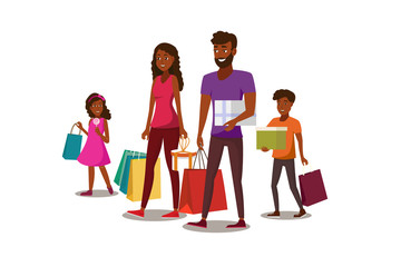 Happy Young Family Shopping Flat Vector Concept