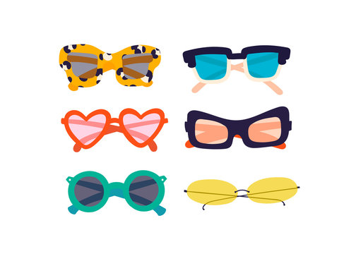 Various trendy sunglasses. Different shapes. Hand drawn colored vector set. All elements are isolated