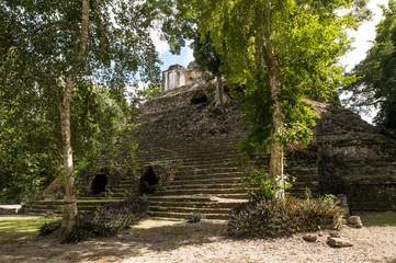 The Mayan temple of Dzibanche in the rain forest of Quintana Roo, Mexico.