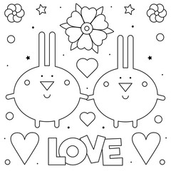 Rabbits. Coloring page. Black and white vector illustration.