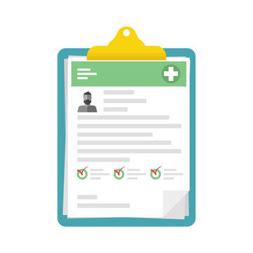Medical Check List Clipboard. Prescription of medicines, filling the health insurance, medical card, clinical record, medical check marks report, medical report. Vector illustration.