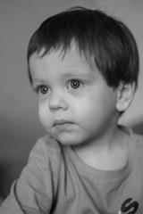 Black and white portrait of a boy. Little boy portrait.