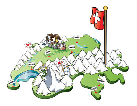 Map of Switzerland with mountain, lakes, cities, fauna and flora