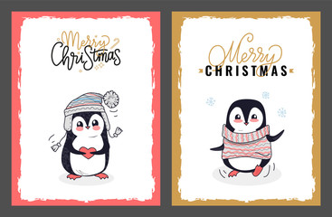 Merry Christmas Greeting Cards from Cute Penguins