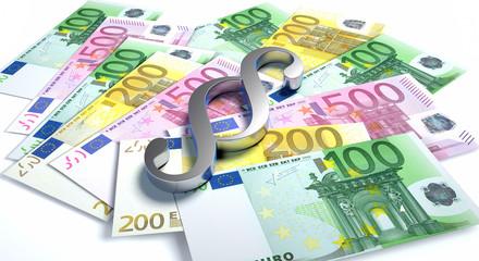 Silberner Paragraph auf Euroscheinen