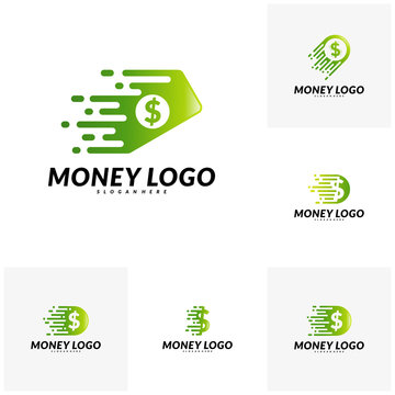 Set of Fast money logo Design Concept Vector. Fast Coin logo Template
