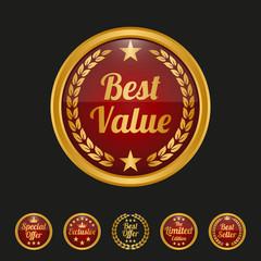 Best value label on black background.