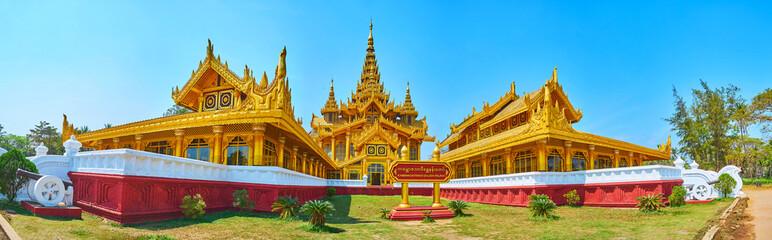 The facade of Kanbawzathadi palace, Bago, Myanmar