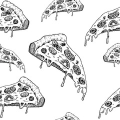 pizza sketch pattern, seamless vector pattern, hand drawn sketch slice of pizza isolated on white background , Vector