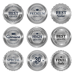 set of luxury silver badges and labels