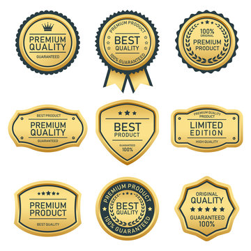 set of gold vintage badges and labels