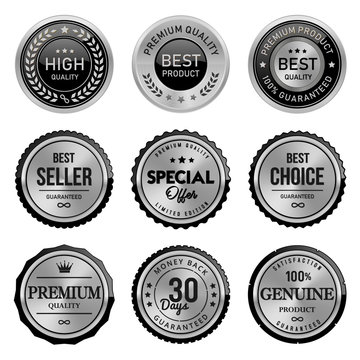 set of silver badges and labels