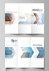 The minimalistic abstract vector illustration of the editable layout of two creative tri-fold brochure covers design business templates. Scientific medical DNA research. Science or medical concept.