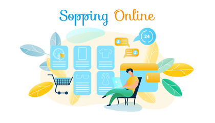 Vector Illustration Man Produces Shopping Online