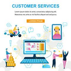 Vector Illustration Customer Service Online Store