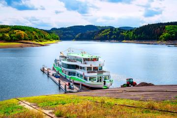 Tourist Boat at Biggesee Reservoir in Sauerland,North Rhine westphalia,Germany