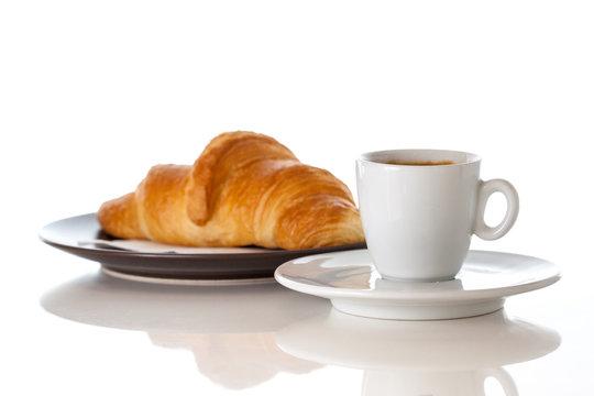 Coffe croissant espresso white background isolated