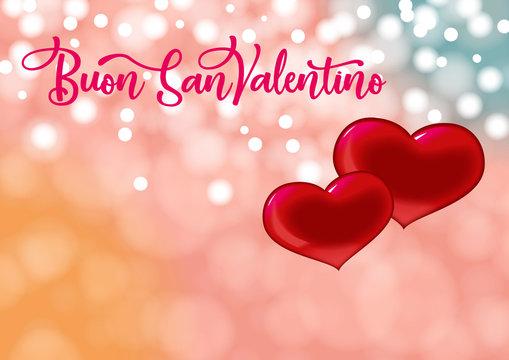 card san valentino con due cuori fondo bokeh