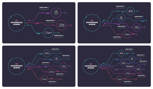 Thin line infographic schemes with 3 4 5 6 options. Vector templates for web, presentations, reports, visualizations.