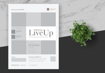 Business Event Flyer Layout with Grey Accents