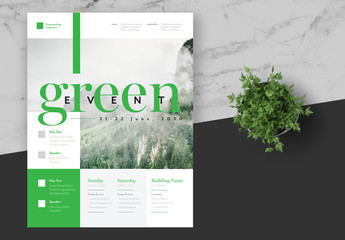 Green Event Flyer Layout with Green Accents