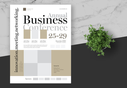 Business Conference Flyer Layout with Gold Accents
