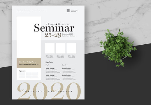 Business Seminar Flyer with Gold and Grey Accents