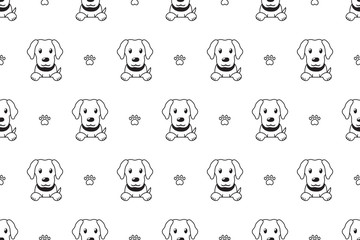 Vector cartoon character labrador dog seamless pattern for design.