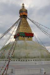 Bodnath stupa against the clouds in Nepal, Katmandu
