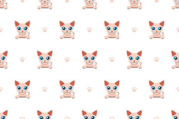 Vector cartoon character cute cat seamless pattern for design.
