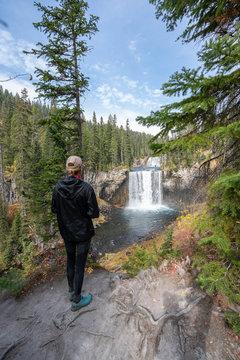 Woman Watching Waterfall
