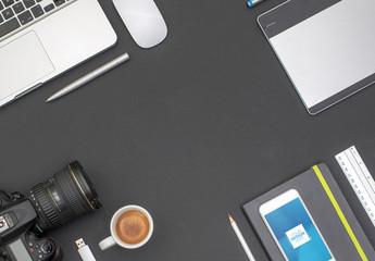 Desk with Smartphone and Camera Mockup