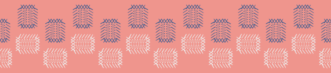 Alternating hand drawn shapes, similar to a japanese basket design, seamless vector border design. Coral background with blue and off white. Great for cards, stationery,  fabric and home decor.