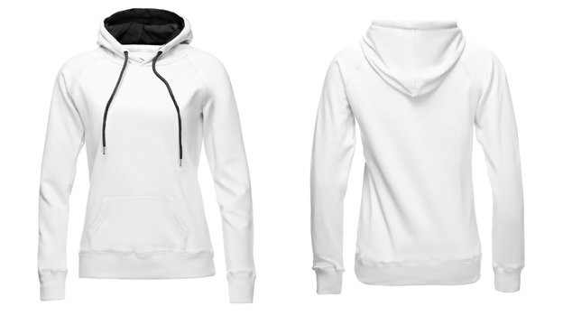 White female hoodie sweatshirt long sleeve, women hoody with hood for your design mockup for print, isolated on white background. Template sport clothes