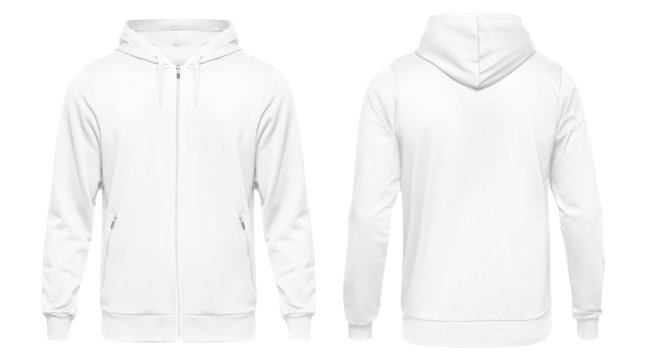 White male hoodie sweatshirt long sleeve, mens hoody with hood for your design mockup for print, isolated on white background. Template sport clothes