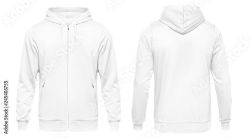 4779ffb2207 White male hoodie sweatshirt long sleeve with clipping path