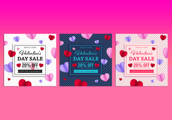 Three Valentine's Day Sale Social Media Post Layouts