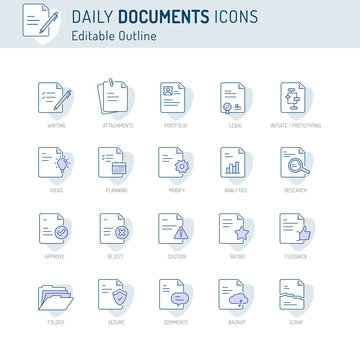 Document icon, Thin line icons, Assessment, Contract, legal, Corporate Business Agreement Publication Education Document collection