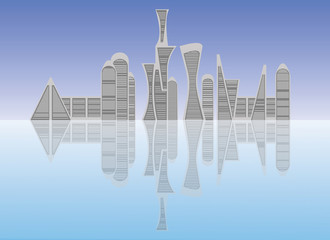 City scene flat illustration. Futuristic buildings design.